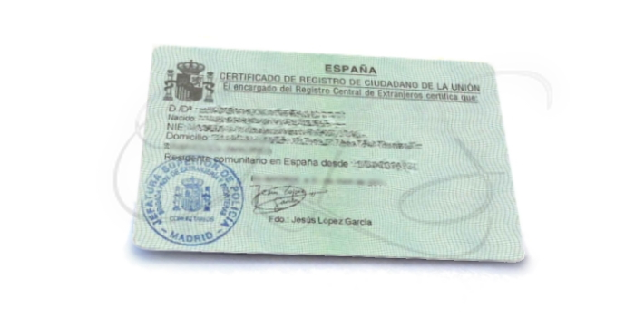 EU Citizen Spanish Residency Certificate