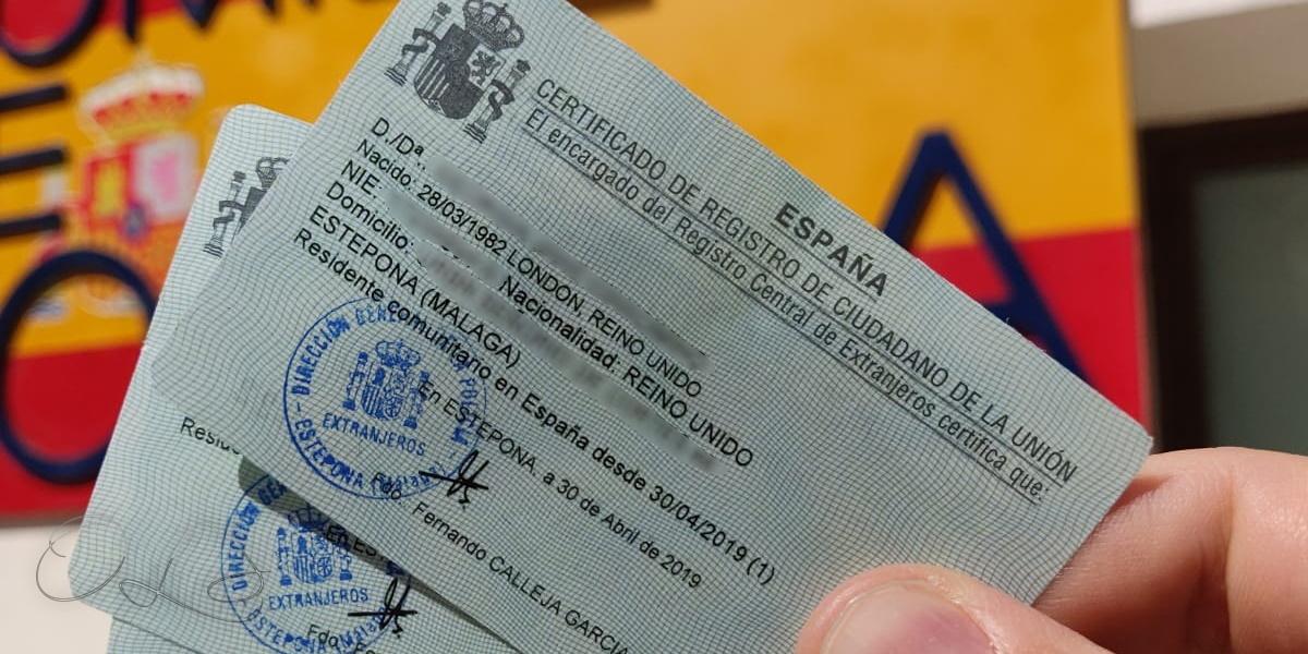 Spanish residency certificates for UK EU citizens